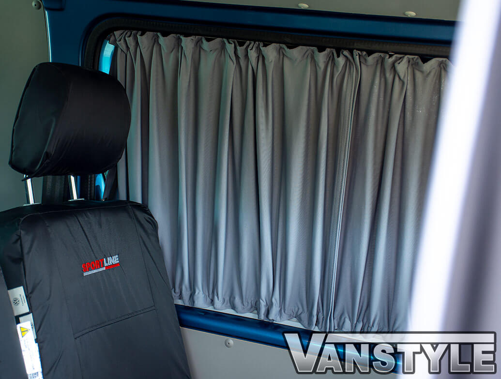 Tailored Blackout Curtain - Grey - Rear Quarter LWB - VW T5/T6