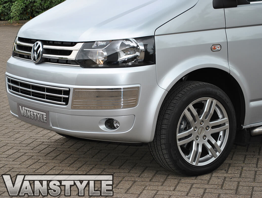 Stainless Steel Bumper Inserts - VW T5 & Caravelle 2010>2015