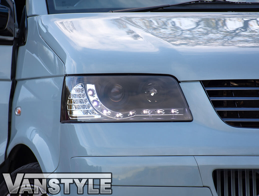 Headlights Set, Black With Audi Style LED, VW T5 2003>09