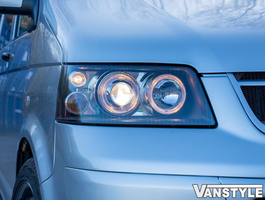 Headlights Set, Black With Angel Eye Side Light, VW T5 2003>09