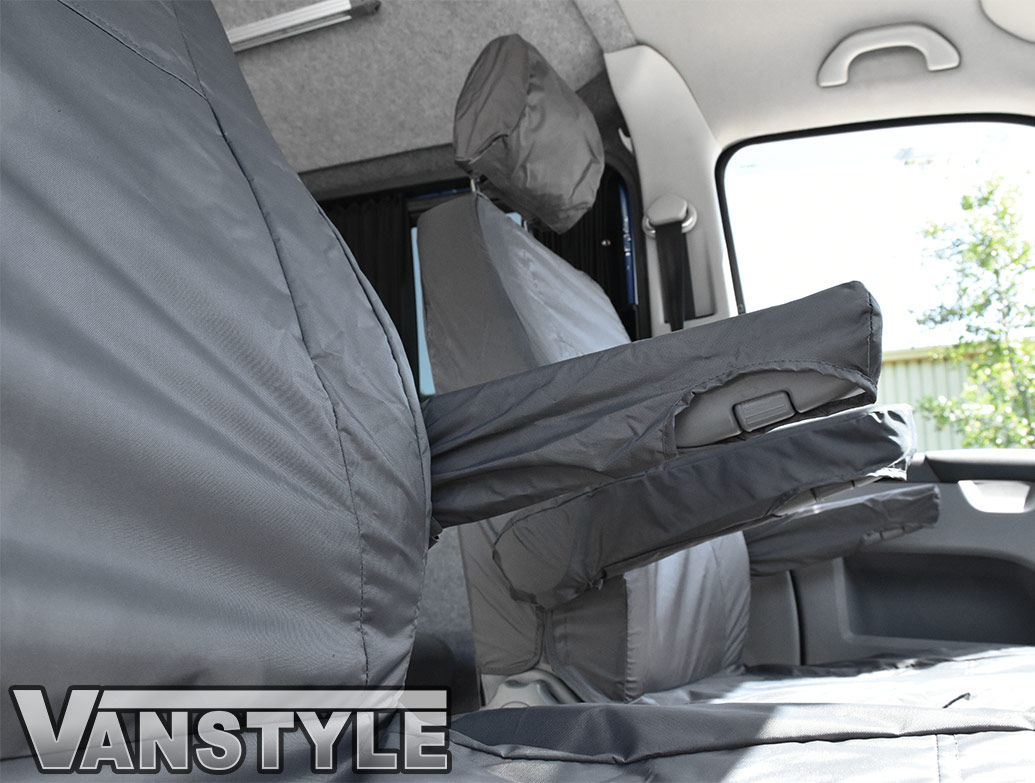 VW TRANSPORTER T5 FRONT GREY DRIVERS SINGLE PASSENGER SEAT WATERPROOF COVERS