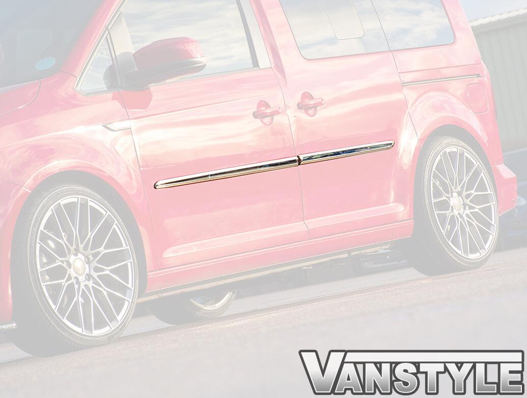 VW Caddy SWB 2015>21 Polished Stainless Steel Side Streamer Set