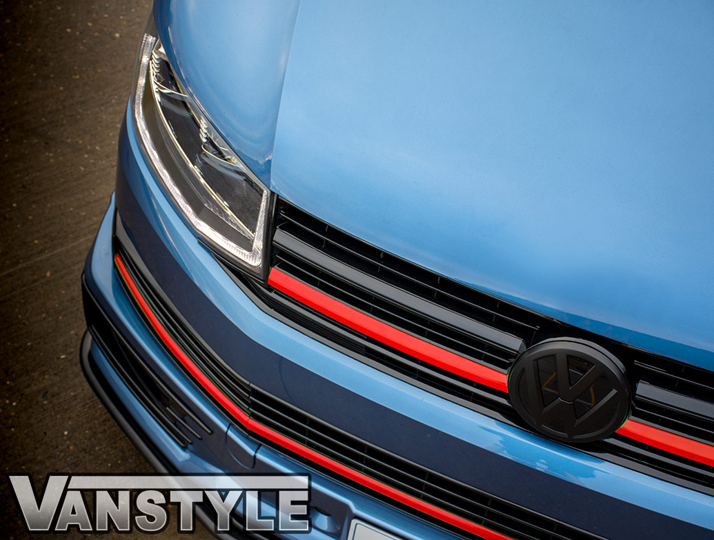 Red Edition 3-Piece - Front Radiator Grille Trim - VW T6 2015>