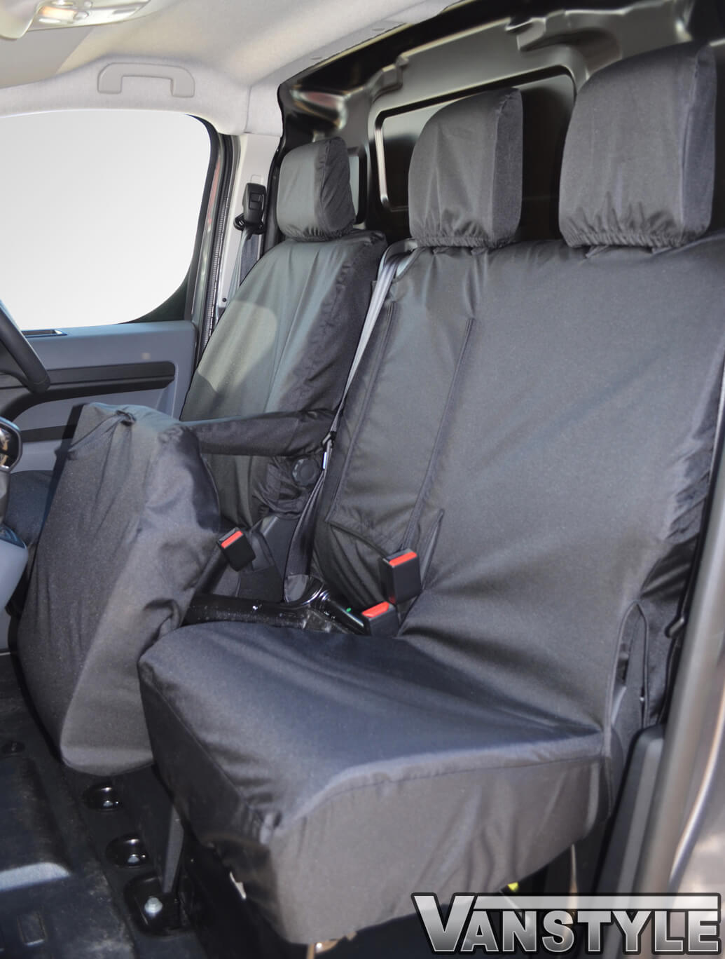 Black Rear Waterproof Car Seat Cover Protector For Peugeot Traveller 2016 On