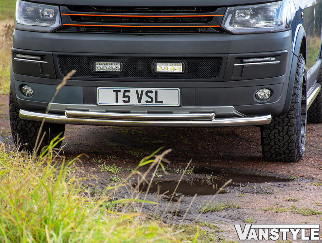 VW T5 2010-15 Front Polished Stainless Steel Double City Bar
