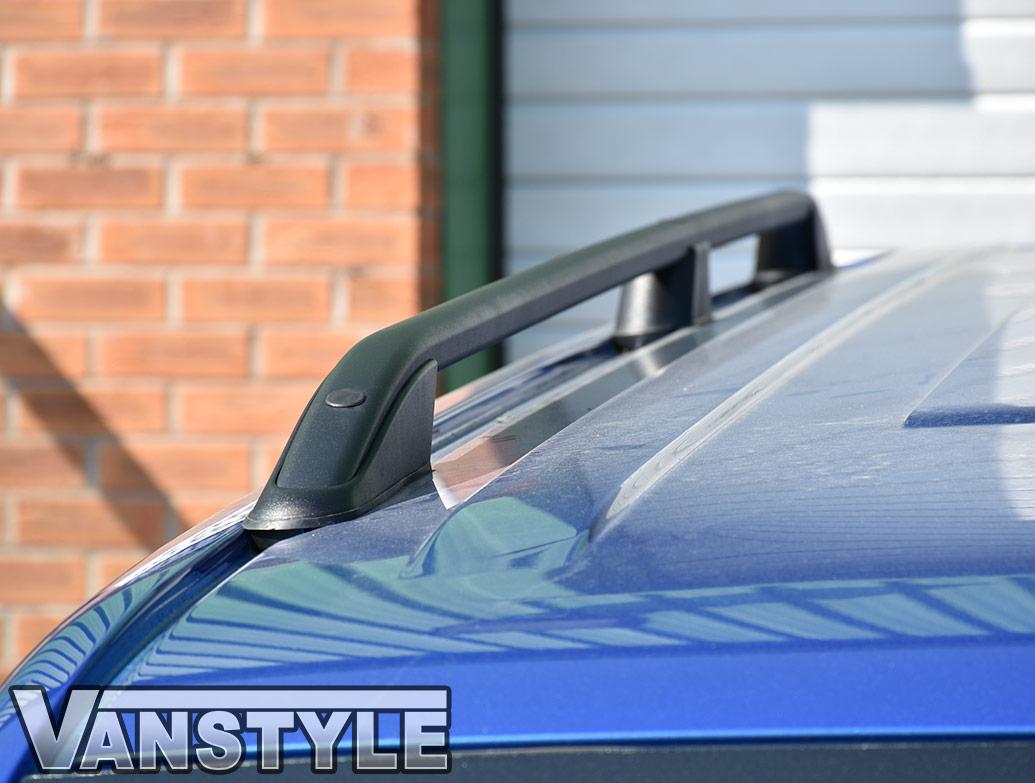 VW T5 & T6 LWB Textured Black Aluminium Roof Bars 03-15 & 2015>