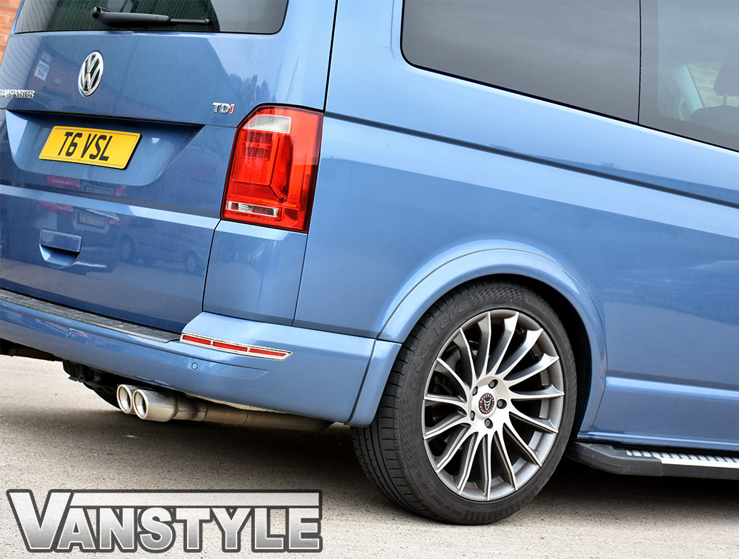 Polished Stainless Steel Rear Bumper Reflector Trim - VW T6 15>