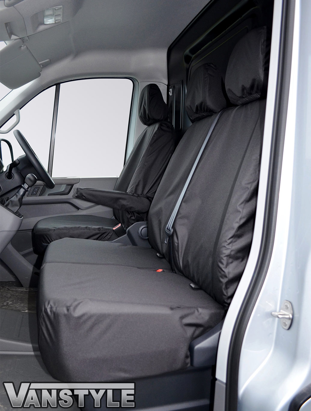 100% Waterproof Tailored Fit Black Seat Covers - Crafter/TGE 17>