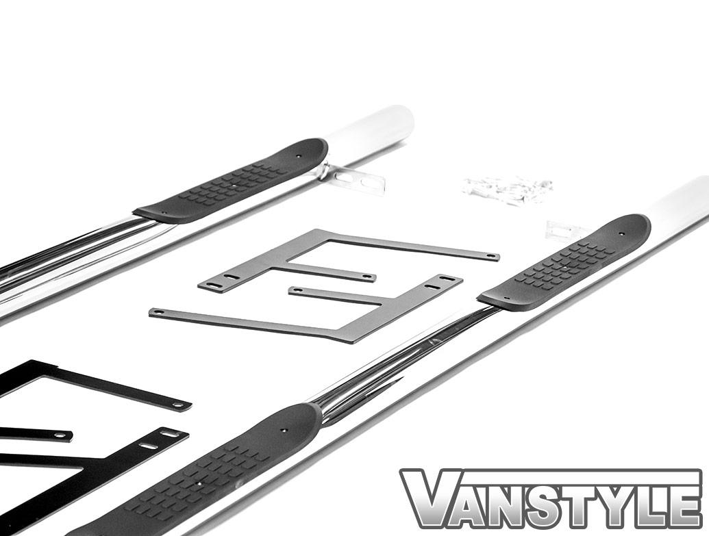 60mm Polished Chrome Steel Side Steps - Dispatch/Expert/Proace