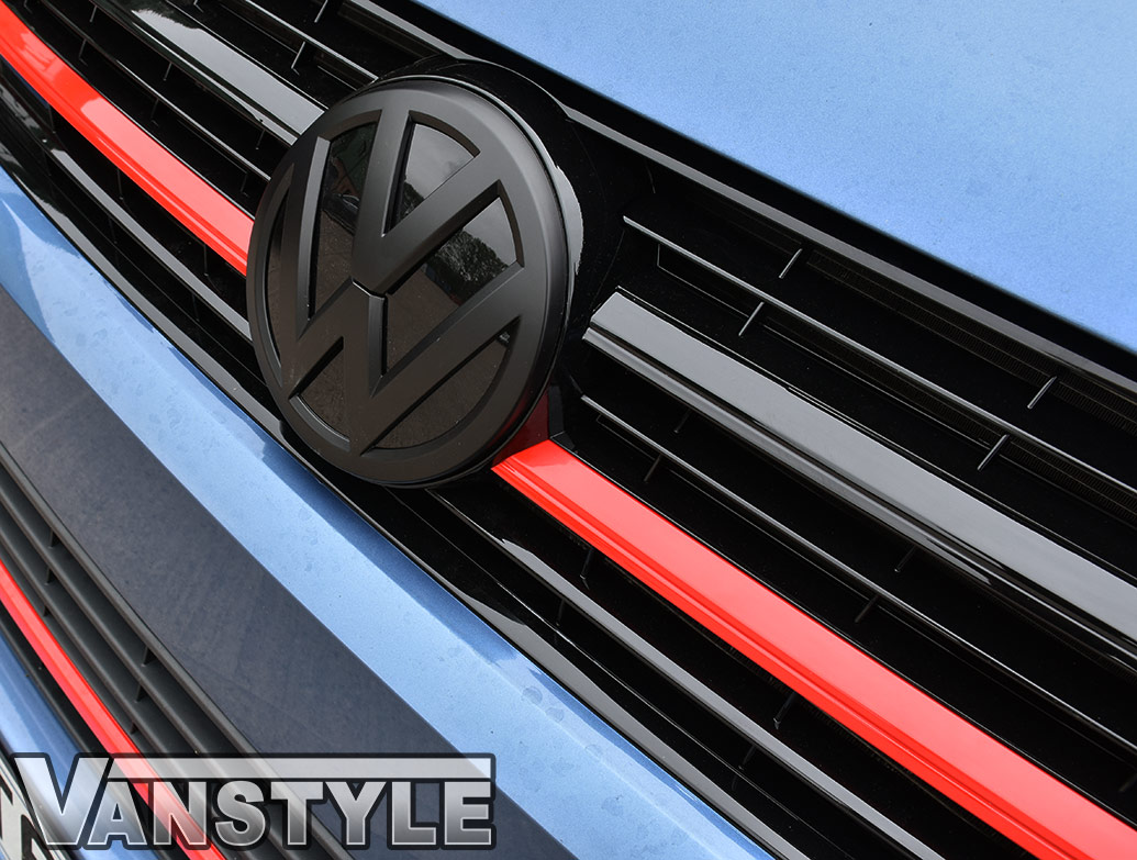 Gloss Red Upper Grille 2 Piece Trim Inserts - VW T6 2015>