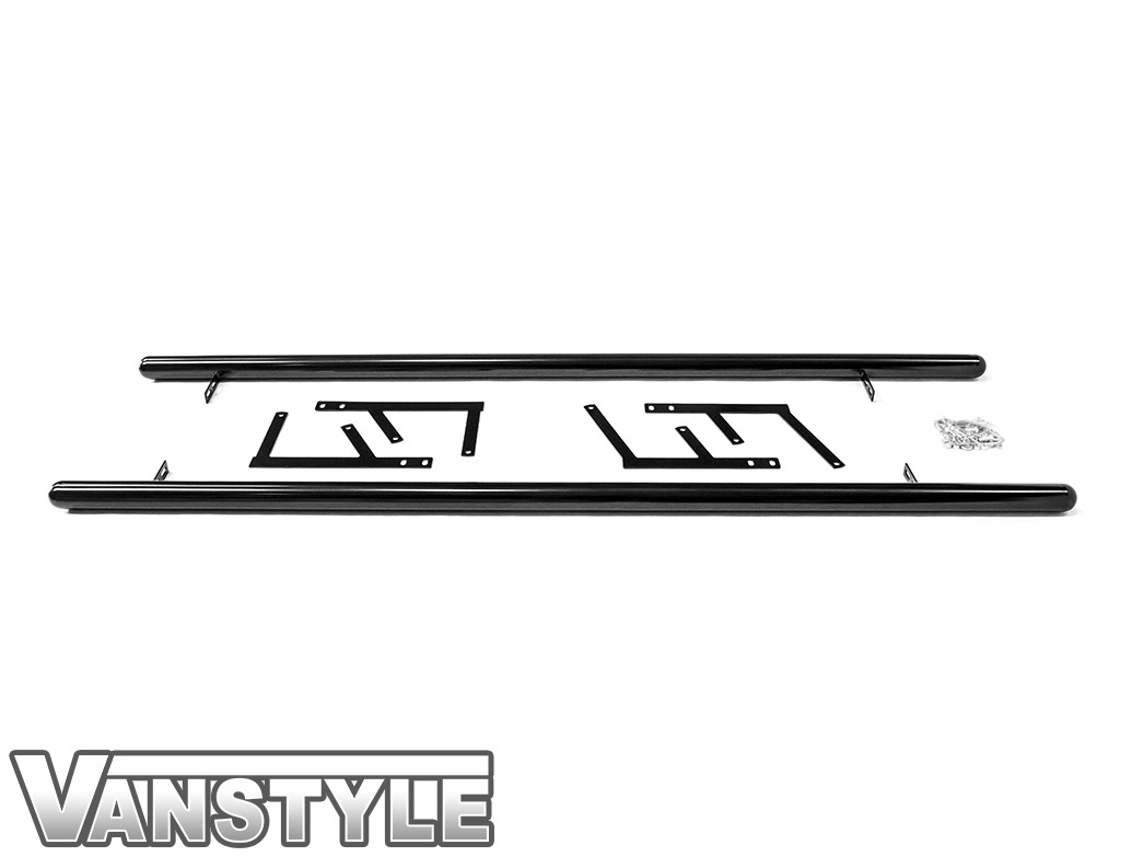 60mm Gloss Black Steel Side Bars - Dispatch/Expert/Proace