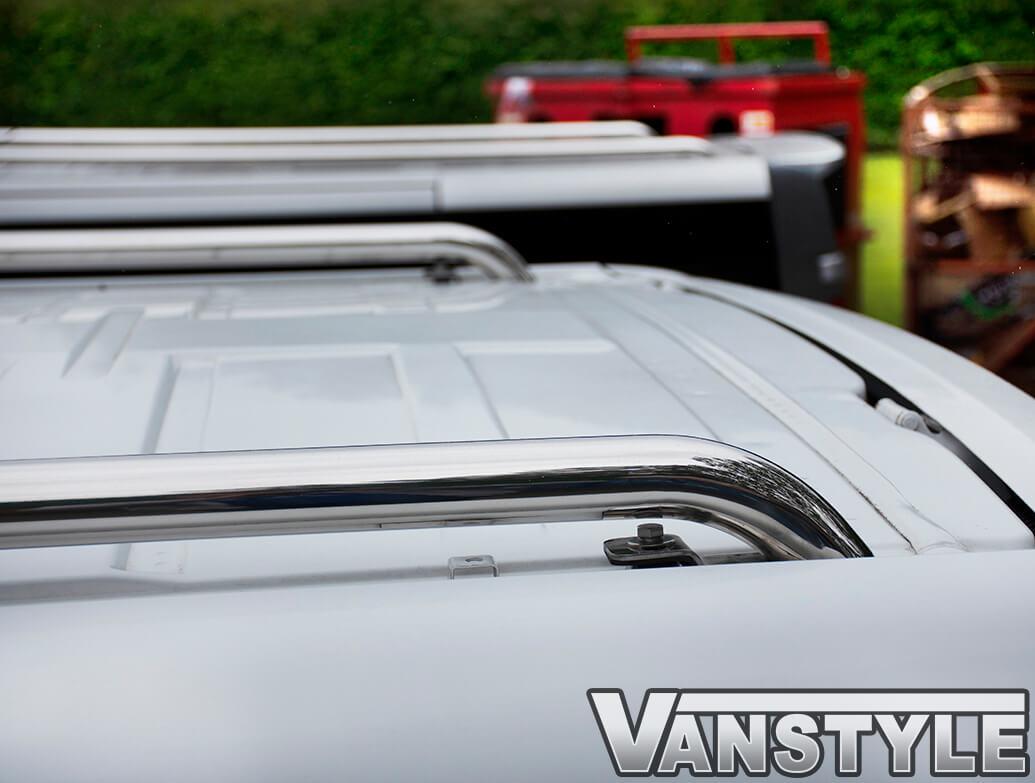 Polished Stainless Steel Roof Bars - Vivaro & Trafic 01>14