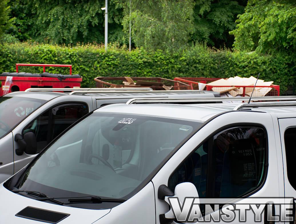 Polished Steel Roof Rails Bars Racks Pair for Renault Trafic 2014 on SWB