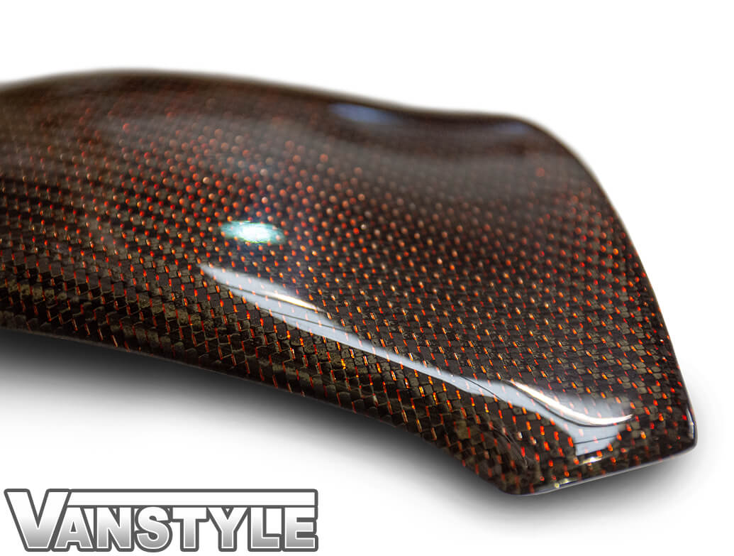 Red Real Carbon Fibre Mirror Covers - VW T5 10>15 & T6 15>