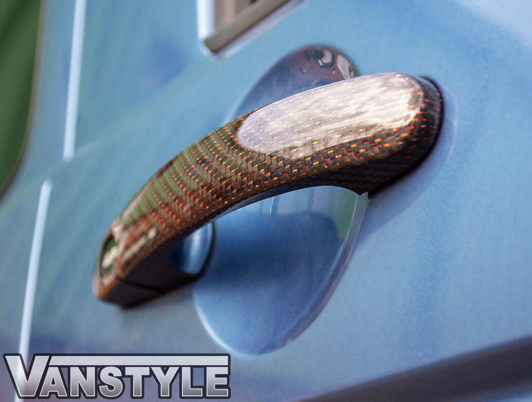 Red Carbon Fibre Door Handle Cover Set - VW T5, T6 & Caddy