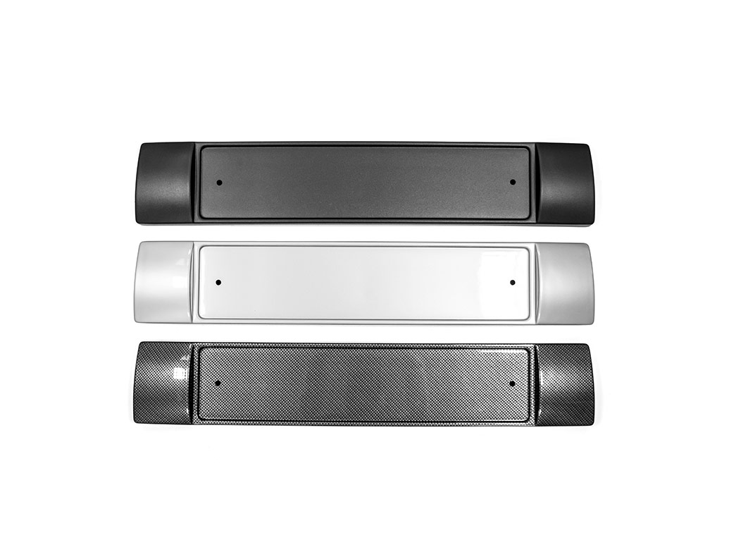Front Bumper Number Plate Plinth in Carbon Effect - VW T6 2015>