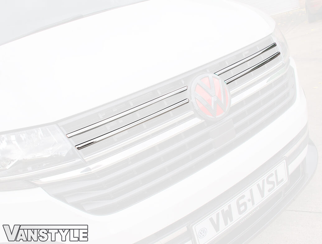 Polished Stainless Steel Front Upper Grille Trims Set - VW T6.1
