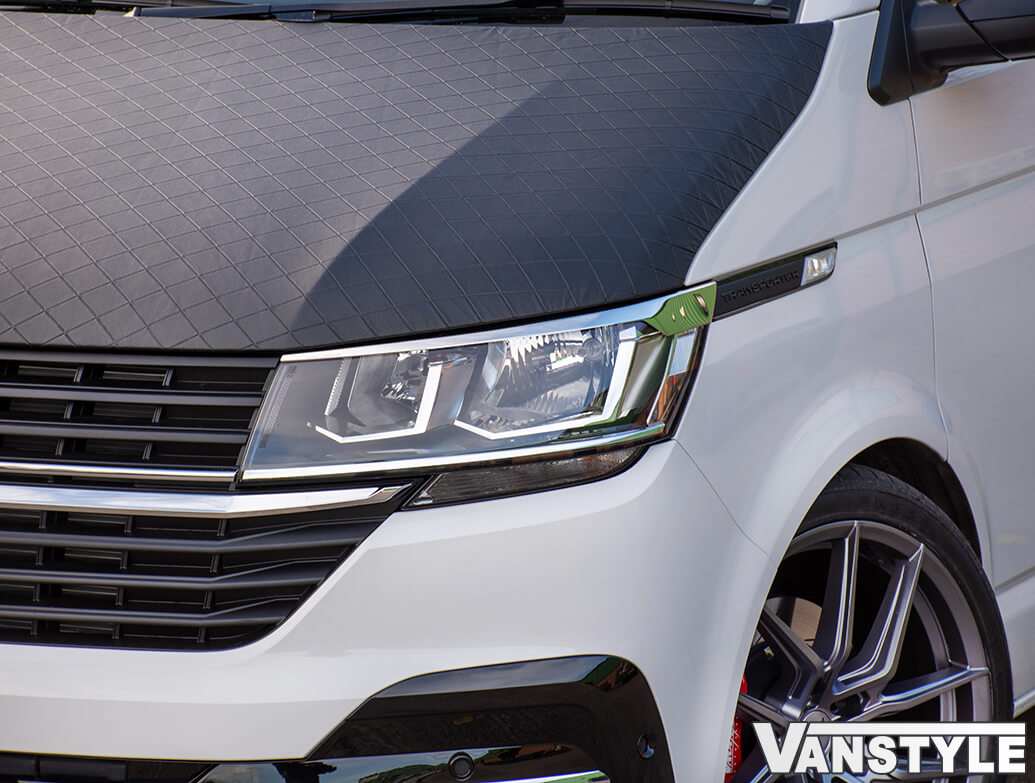 Polished Stainless Steel Head Light Brows - VW T6.1 19>