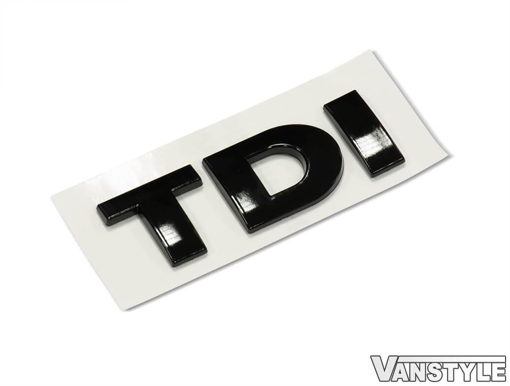 TDI Rear Boot Badge Gloss Black & Gloss Black with Chrome Edge