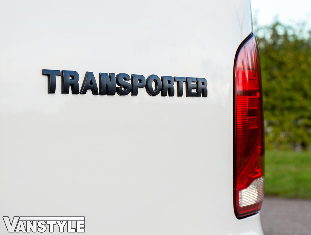 Transporter Rear Lettering Boot Badge Gloss Black & Matt Black