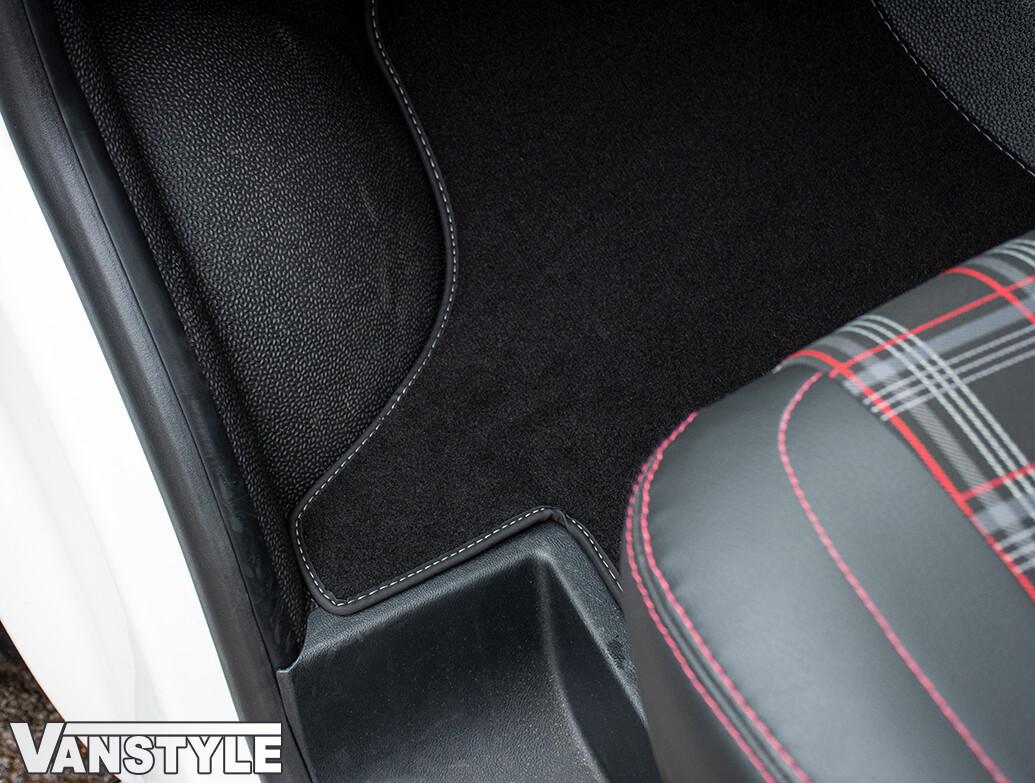 Black Fabric RHD Front Cab Carpet Mats - Luxury - VW T6.1 2019>