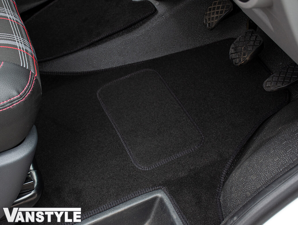 Black RHD Front Cab Carpet Mats - 2pcs Quality - VW T6.1 2019>