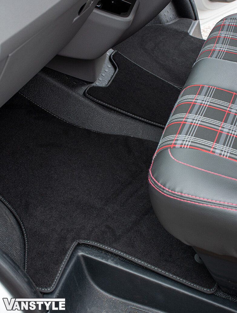 Black RHD Front Cab Carpet Mats - 2pcs Luxury - VW T6.1 2019>