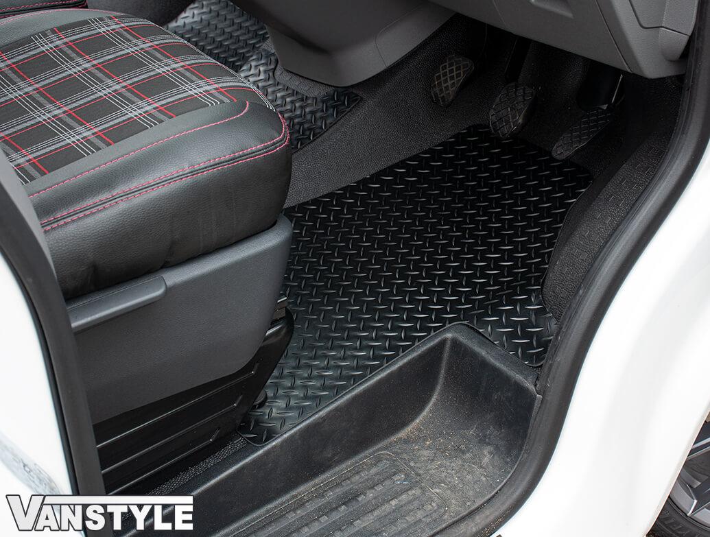 Black Rubber RHD Front Cab Mats - 2pcs Heavy Duty - VW T6.1 19>
