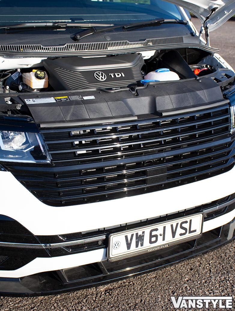 Full Front Gloss Black Badgeless Grille - VW T6.1 19>
