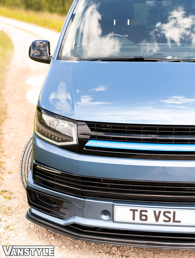 Gloss Black With Blue Band ABS Badgeless Grille - VW T6 15>19