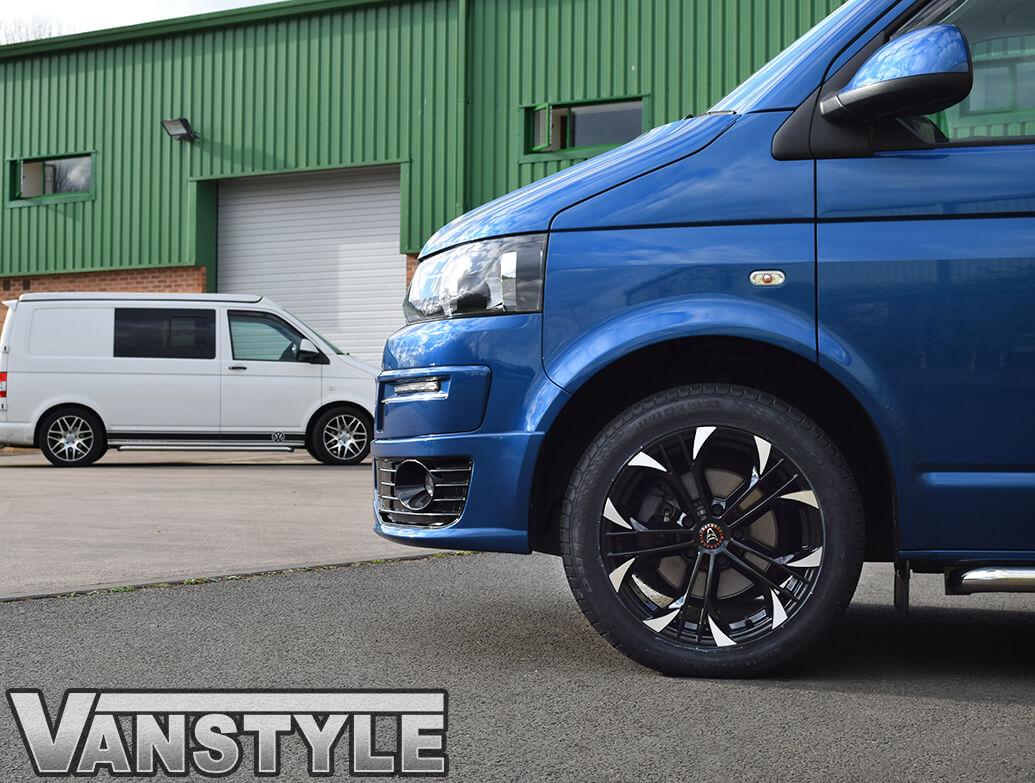 """Wolfrace Assassin GT Black & Polished 18\"""" VW T5 T6 Alloy Wheels"""