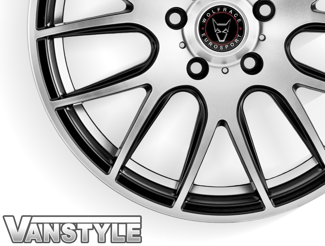 "Wolfrace Munich Black Polished 18"" VW T5 T6 Wheel & Tyre"