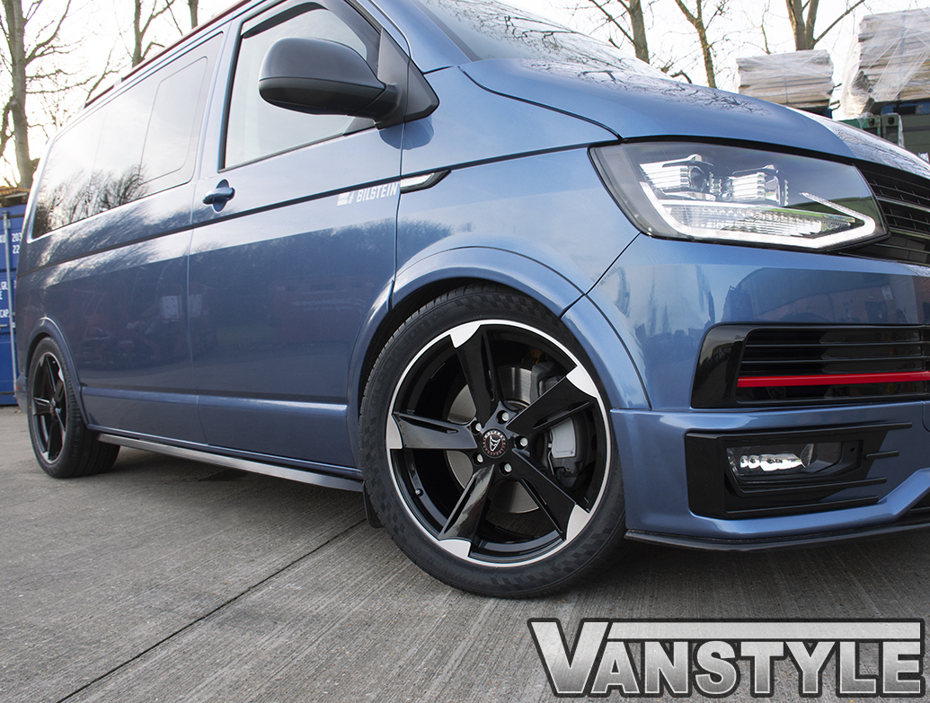 "Wolfrace Genesis Black & Polished 20"" VW T5 T6 Alloy Wheels"