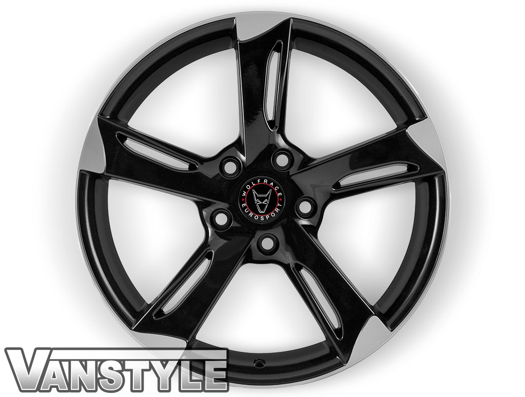 "Wolfrace Genesis Gloss Black Polished 18"" VW T5 T6 Wheel & Tyre"