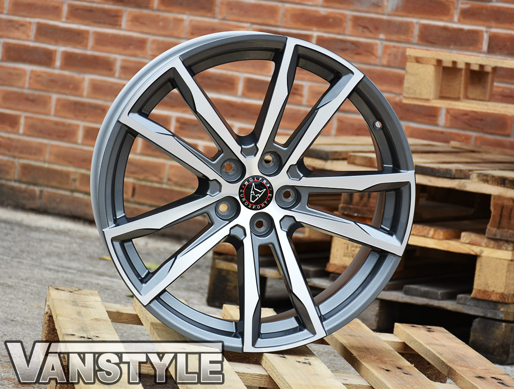"Wolfrace Dortmund Gun Metal & Polished 20"" T5 T6 Wheels & Tyres"