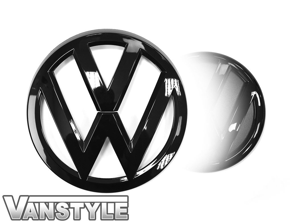 VW Replacement Front & Rear Gloss Black Badge Set - VW T6 2015>