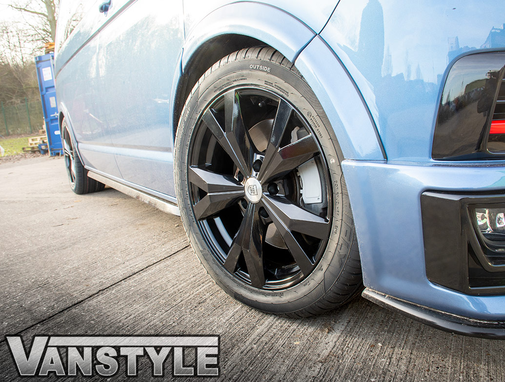 "Techline Gloss Black 5x120 18\"" VW T5 & T6 Wheels & Tyres"