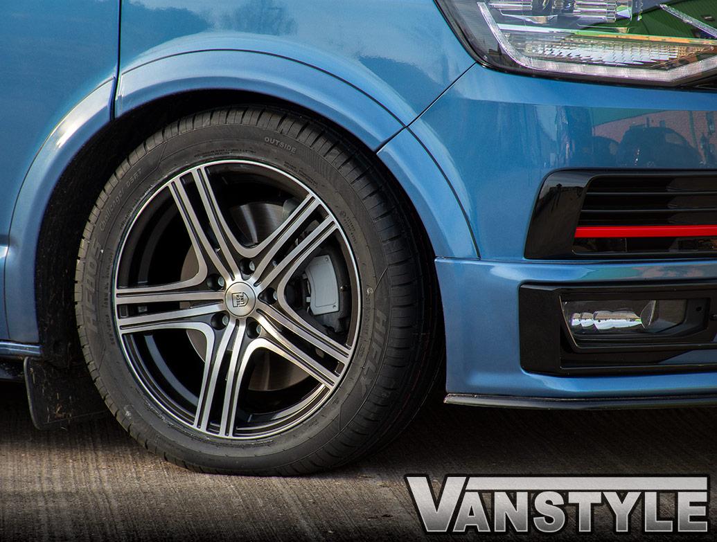 "Techline Gloss Black/Polished 18\"" VW T5 & T6 Wheels & Tyres"
