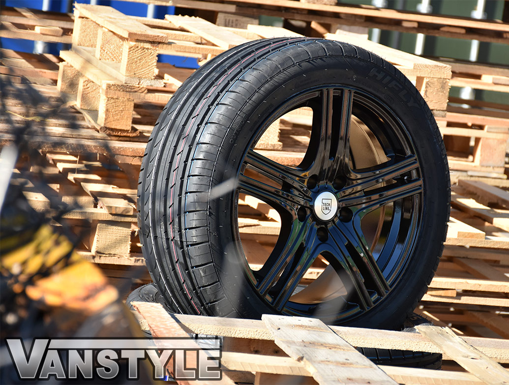 "Techline Gloss Black 5x120 18"" VW T5 & T6 Wheels & Tyres"