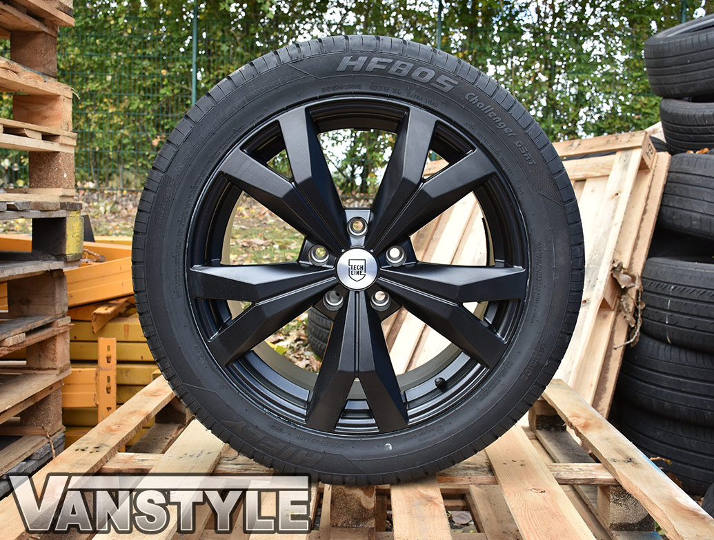 "Techline Matte Black 5x120 18"" VW T5 & T6 Wheels & Tyres"