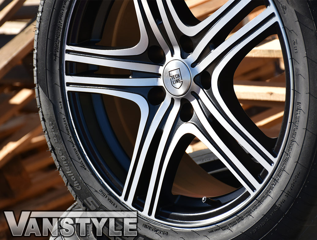 "Techline Matte Black/Polished 18"" VW T5 & T6 Wheels & Tyres"
