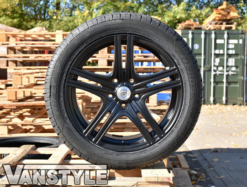 "Techline Matte Black 5x120 18\"" VW T5 & T6 Wheels & Tyres"