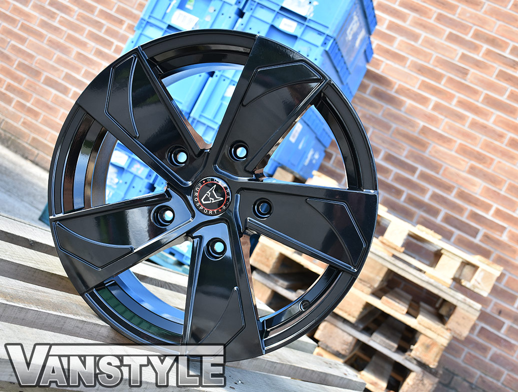 "Wolfrace AD5T 18"" Black Alloy Wheels & Tyre - Transit Custom 12>"