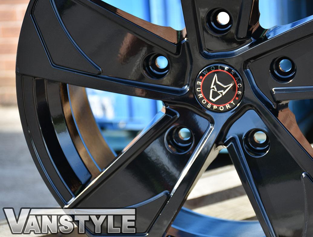 "Wolfrace AD5T 18\"" Gloss Black Alloy Wheels - Transit Custom 12>"