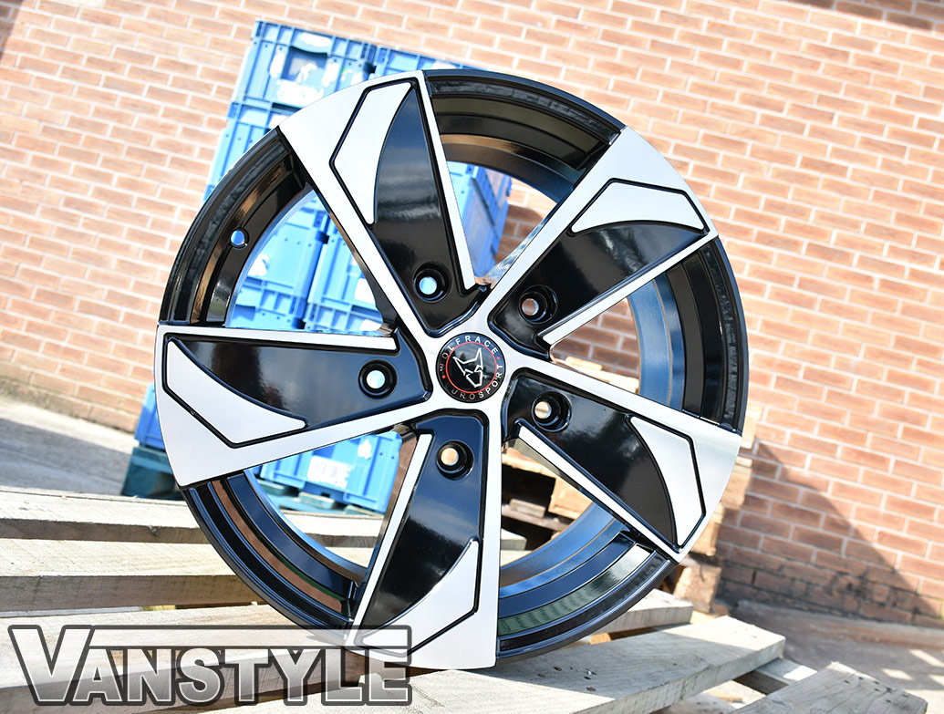 "Wolfrace AD5T 18"" Black & Polished Wheels - Transit Custom 12>"