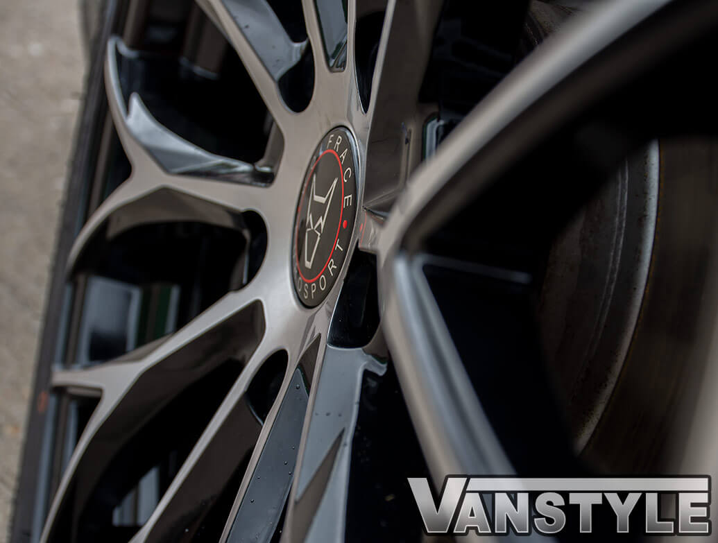 "Wolfrace Wolfsburg Black & Polished 20"" Wheel Set - VW T5 T6 03>"