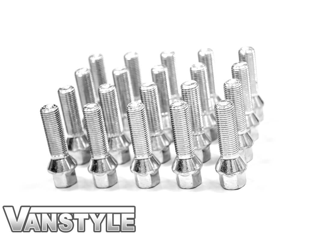 Vanstyle VW T5 T6 Polished Chrome 40mm Extended Wheel Bolts - 20