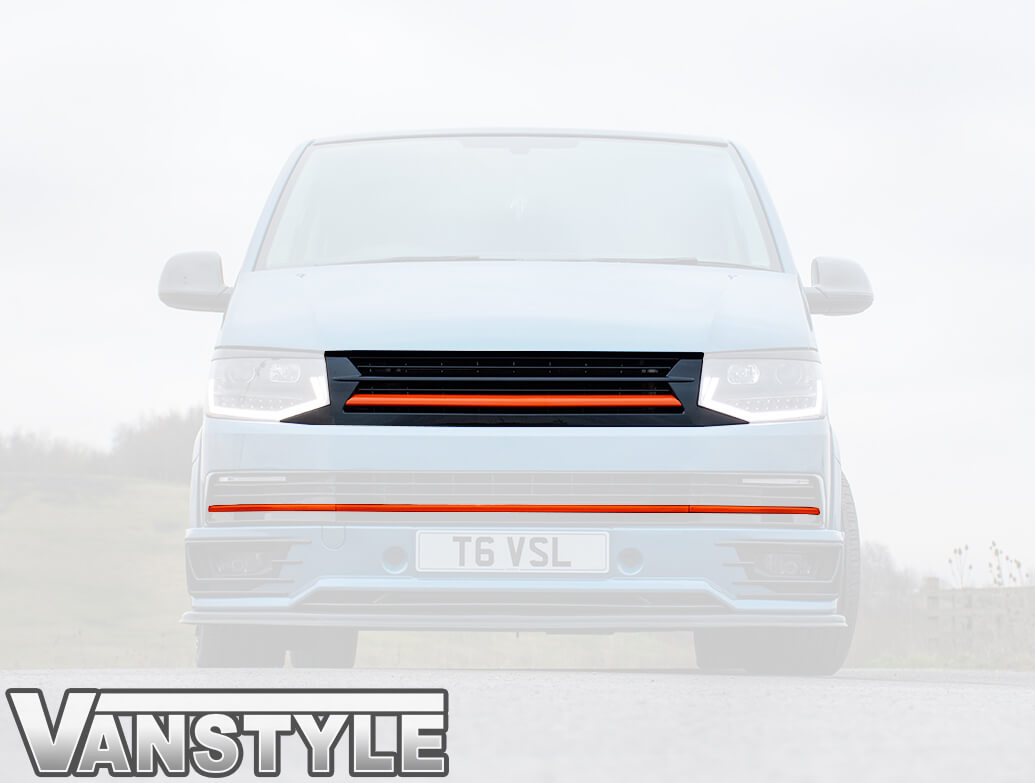 Black With Orange Band Badgeless Grille + 3PC Trims - T6 15>19