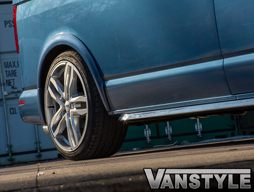 Angled Trapezoid Sportline Style Polished Sidebars - VW T5 T6