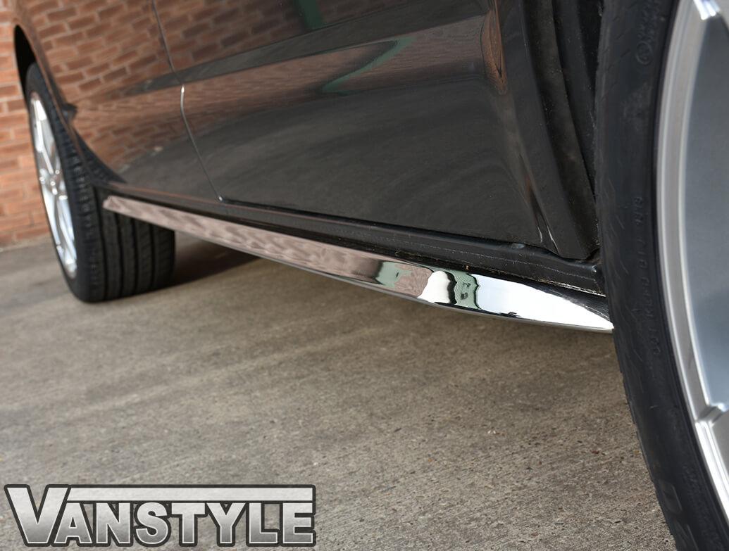 Angled Sportline Polished Side Bars - VW T5 03>15 & T6 15>